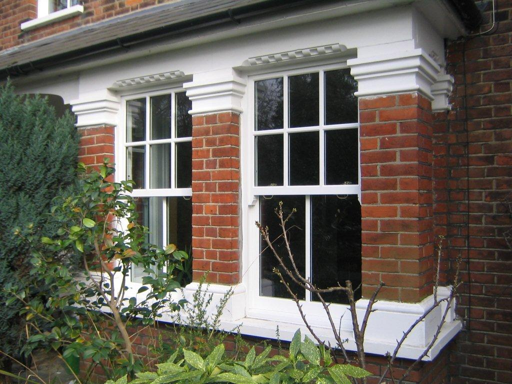 White wood box sash windows