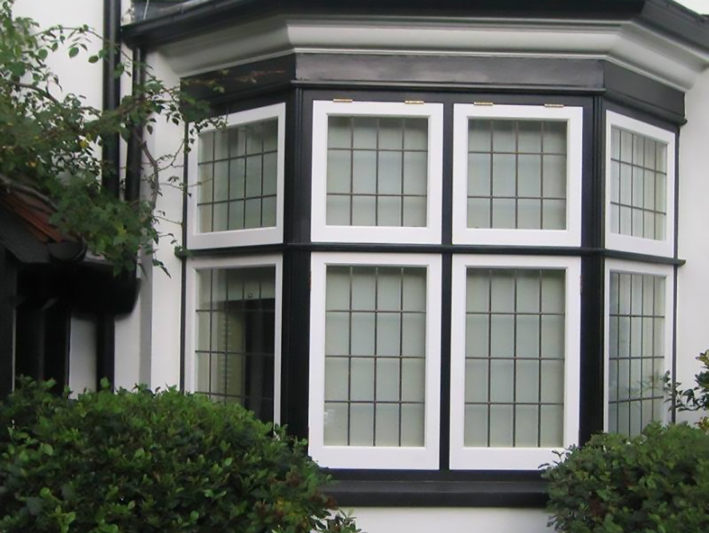 Wood timber black and white windows