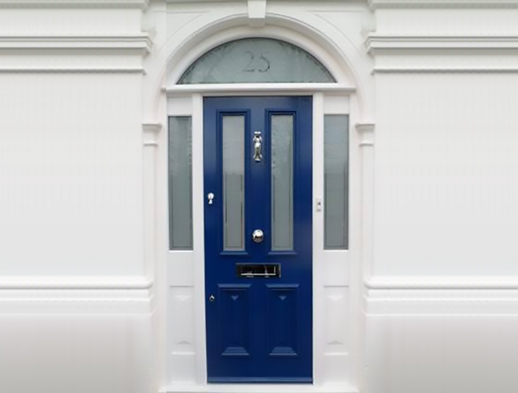 Wooden blue front door