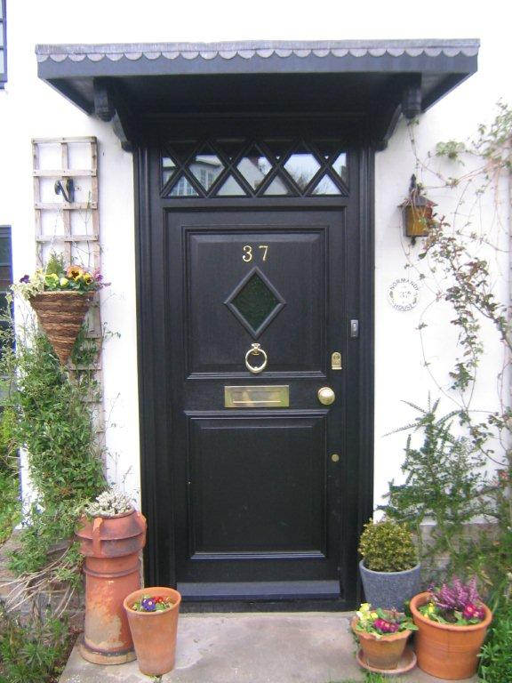 Black wood front door