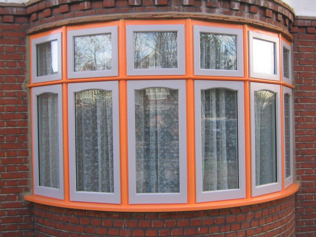 Colourful orange wood window