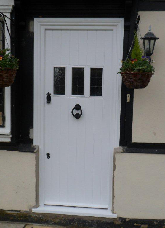 White panel wood front door